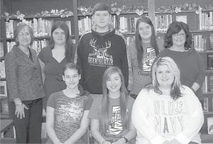 The Whitesburg Rotary Club is sponsoring an Interact Club at Jenkins High School. The club was organized in December and elected officers. Interact is a service club for ages 14 to 18 and is one of Rotary's fastest-growing programs. Rotarians working with the club are Margaret Hammonds, Barbara Ison, Eileen Sanders, Debbie Watts and Sherry Wright. Pictured are (front row, left to right) Director Ashley Wright, President Brook Puckett, Treasurer Samantha Potter, (back row) Barbara Ison, Director Emily Barron, Vice-President Kevin Brashear, Director Stacie Collins and Sonya Breeding, a teacher and club sponsor.
