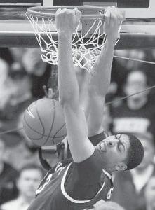 UK's Anthony Davis dunked at Vanderbilt. (AP photo)