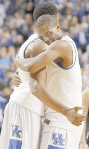 University of Kentucky senior Darius Miller, shown here hugging teammate Terrence Jones after the Wildcats' win over Vanderbilt on Saturday, will play his final home game when Georgia visits Lexington on Thursday night. (AP photo)