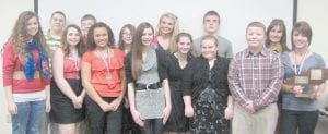 REGIONAL CHAMPS — The Whitesburg Middle School speech team is the regional winner of the Kentucky High School Speech League junior division, which was held Feb. 11 at Knott County Central High School. Pictured are (front row, from left) Sarah Halcomb, Lorie Sturgill, Bayley Amburgey, Casey Sturgill, Delilah Fleming, Lauren Noble, Dalton McCown, Tori Ison, (back row) Hawk Vance, Cruz Adams, Grace Burke, Ashley Benton, Aaron Thomas and Coach Debi Sexton.