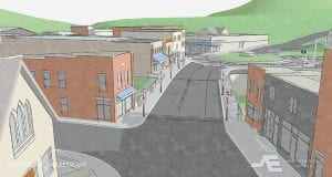 The Whitesburg Streetscape project as seen looking east from near the Methodist Church on Main Street in this rendering by Summit Engineering.