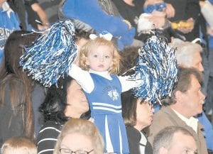 — Little Jaeleigh Breeding wasted no time getting her Cougars fired up before the championship game of the boys' 53rd District Tournament at Jenkins on Saturday night. Despite Miss Breeding's hard work, the Letcher County Central Cougars fell to Knott County for the third time this season. (Photo by Chris Anderson)