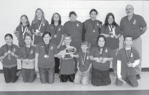 Members of the Cowan academic team are (back row, left to right) Hannah Caudill, Haley Banks, Makenzie Adams, Airies Mullins, Bethanie Monroe, Jeanna Roark, Coach Gary Sturgill, (front row) Olivia Hammock, Destiny Eldridge, Laken Caudill, Zachery Cornett, Haydon Caudill, Future Fields and Hunter Lowe.