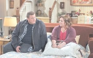 """Billy Gardell, left, and Melissa McCarthy are shown in a scene from the sitcom """"Mike & Molly,"""" which airs Mondays at 9:30 p.m. on CBS. (AP Photo/CBS)"""