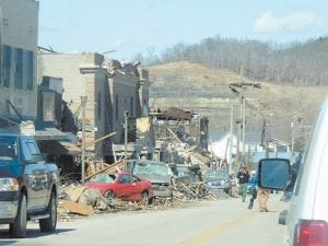 Nicole Rogers took this photo of downtown West Liberty while there volunteering with Letcher Fire and Rescue on Saturday, the day after the second of two tornadoes hit the town.