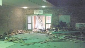 Whitesburg city employee Chris Caudill took this photo showing damages to the Appalachian Regional Hospital in West Liberty while he was there volunteering his help the night after the second tornado hit.