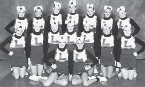 The Letcher County Central High School cheerleading competition squad took the first runner-up trophy in the Traditional Division at the KAPOS State-At-Large Cheerleading Competition at Western Kentucky University Feb. 18. Pictured are (first row, left to right) Marissa Dinsmore, Lindsey Kincer, (second row) Kiah Mullins, Samantha Baker, Lexie Smith, Katie Quillen, Megan Miller, Whitney Hogg, Carli Combs, (third row) Brooke Kincer, Loretta Adams, Kristiana Ballou, Kelsie Cornett, Sarah Wooten, Callie Baker and Ashley Collins. The squad is coached by Debbie Frazier and assistant coach Donna Perkins.
