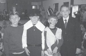 — These fourth-grade West Whitesburg Elementary School students participated in a Thanksgiving play in November. Pictured are Parker Williams, Zack Hensley, Creed Warf and Sam Mullins.