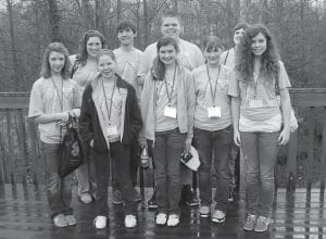 — Nine Letcher County students participated in the annual 4-H Summit held March 17 at the Kentucky Leadership Center near Lake Cumberland. The students learned about leadership and team building, as well as having fun and making new friends. The guest speaker was Kyle Scheele, a motivational speaker and author. Pictured are (front, left to right) Katanna Fugate, Katelyn Back, Brooke Saurer, Carla Sturgill, Sarah Halcomb, (back) Dorothy Whitaker, Trevor Adams, Terry 'Bubba' Wolfe and Tyler Mullins.
