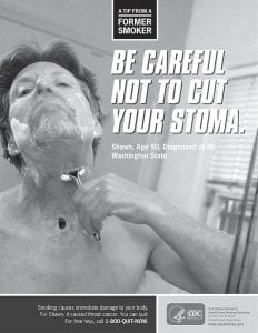 This image provided by the Centers for Disease Control shows Shawn Wright, who had a tracheotomy after being diagnosed with head and neck cancer. The government is trying to shock smokers into quitting with a graphic nationwide advertising campaign. (AP Photo)