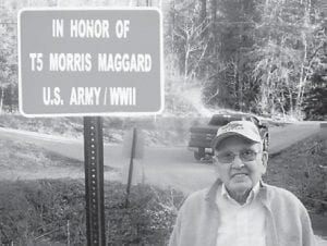 """— Morris Maggard of Cowan, 'the A-Model man"""", celebrated his 90th birthday on March 19. He and his wife, Della, have three daughters, Stella Bates, Mary Wilson and Gwen Saylor, all of Whitesburg. They also have seven grandchildren and 13 great-grandchildren. He is a U.S. Army veteran of World War II, and a county bridge at Cowan was recently named in his honor."""