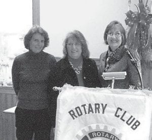 Two new members have joined the Rotary Club of Whitesburg. Sherry Wright, coordinator of federal programs, professional development and special education programs for Jenkins Independent Schools, and Eileen Sanders, a member of the Jenkins Board of Education, were installed by Rotarian Barbara Ison in December. Wright was sponsored by Deborah Watts and Sanders by Brenda DePriest. The two new members were presented with membership certificates and pins at the installation ceremony. Pictured (left to right) are Wright, Sanders and Ison. Eight new members have been inducted into the club since July.