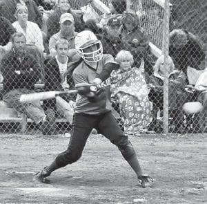 Jenkins Lady Cavalier Kayla Stambaugh connected with the softball while batting in a recent game. (Photo by Chris Anderson)