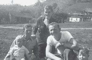 This photo sent in by Jim Cornett was taken at Graveyard Hollow in 1944. Pictured are Curt Cornett, 1910-1984; Orell Cornett, born 1943; John Hughes, 1925-1992; Jim Raleigh, 1910-1978; and Jimmy D. Raleigh, 1942-2012. They are sitting where the first house in Westwood is now located.