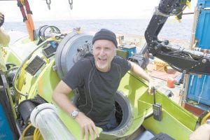 James Cameron emerged from the Deepsea Challenger submersible after his solo dive to the Mariana Trench, the deepest part of the ocean.(AP Photo/National Geographic)