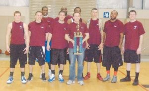 — A team sponsored by BB&T bank won the championship of a 10- team adult men's league at the Knott County Sportsplex. The teams were made up of players from Letcher, Knott, Perry, Floyd, and Johnson counties. Members of the BB&T team included some players from Letcher County. Pictured above are (front row) Devin Burchett, Brandon Miller, Daniel Combs, Jack Burchett, George Campbell, Corey Hairston, Matt Day, (back row) Will Ison, Sandrell Spann, and Micah Oden.