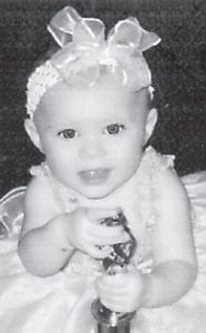 Eight-month-old Kendell Whitaker was first runnerup in the recent Glitz & Glimmer Beauty Pageant. She is the daughter of Wendell and Breanna Whitaker of Lotts Creek and has a sister, Kadence, 8, and a brother, Ryan, 2. Her grandparents are Jr. and Sherry Whitaker of Solomon Road, and her great-grandparents are Donald and Joann Sexton of Hallie.
