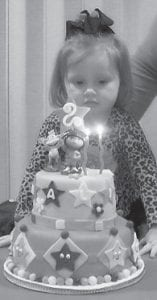 — Hali Nikole Cornett celebrated her second birthday on Feb. 8 with friends and family at the Letcher County Rec Center. She is the daughter of D.J. and Stephanie Cornett of Colson. Her grandparents are Kenny and Madonna Bates.
