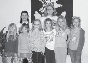 — Troop 1193, made up of students from Martha Jane Potter Elementary School, visited The Mountain Eagle on April 5. The troop learned about the different parts of a newspaper and helped design a front page. Pictured are (front row, left to right) Rebekah McAuley, Kelsey Goins, Marissa Webb, Kerrigan Bolling, Sarah McAuley, Alli Goins, (back row) Kandis Jenkins and Randi Wampler.