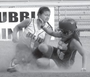 Mercedes Boggs tagged a Pike County Central runner out at second during the Lady Cavs' win last week. Jenkins won three games last week.