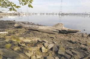 """TODAY — This photo taken April 16 shows remnants of a tire and rim along the shoreline of the Middle Branch of the Patapsco River in Baltimore, Md. The photo was taken near the site of an historic photo taken during the """"Documerica"""" project (1972-1977). (AP Photo/Patrick Semansky)"""