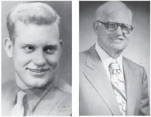 Former Army S/Sgt. Charles Ray Peters (pictured at left in the 1940s and at right today) will celebrate his 90th birthday in September. He entered military service December 23, 1942, and his specialty was provost sergeant. He served in battles in Normandy, northern France, Rhineland and central Europe. He received the Bronze Star Medal, Good Conduct Medal, European African Middle Eastern Theater Ribbon and World War II Victory Ribbon. He returned home to Virginia in 1945, and work brought him to Whitesburg in 1969. He has two sons, Frank and Jim Peters, and was married to the late Kathryn Back Peters.