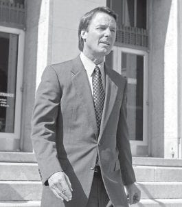 Former presidential candidate Sen. John Edwards left a federal courthouse in Greensboro, N.C., earlier this week. Edwards is accused of conspiring to secretly obtain more than $900,000 from two wealthy supporters to hide his extramarital affair with Rielle Hunter and her pregnancy. He has pleaded not guilty to six charges related to violations of campaign-finance laws. (AP Photo)