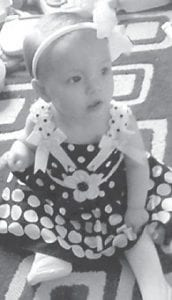 — McKayla Brown will turn one year old May 10. She is the daughter of Chris and Kyra Brown of Nicholasville. Her grandparents are Pam and John Brown of Lexington, and Cheri Banks and Earl Banks of Nicholasville. She is the great-granddaughter of Darrell and Janice Profitt of Camp Branch.