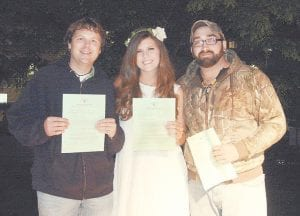 """Letcher County resident Taylyn Combs (pictured at center), Logan Hall (left) and Jeremy Dempsey (right) have been selected to advance from the Pikeville semifinals of the """"Country Music Highway Road to Fame"""" contest."""