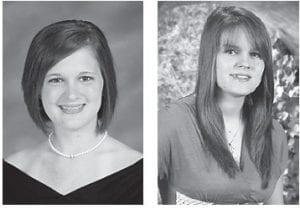 Valedictorian of the 211-member Letcher County Central High School Class of 2012 is Kaitlyn C. Collier (left), daughter of Ernie and Faye Collier of McRoberts. She will attend Eastern Kentucky University in the fall. The salutatorian of the class is Samantha L. Mullins (right), daughter of David and Melanie Mullins of Jenkins, who will attend the University of Kentucky in the fall.