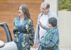 "Sofia Vergara portrays Gloria, left, Ed O'Neill portrays her husband Jay, and Rico Rodriguez portrays her son Manny in a scene from ""Modern Family."" (AP Photo/ABC)"