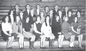 Black Kat Staff — Front row, left to right are Betty Adams, Joyce Bowen, Leigh Lewis, Kay Craft, Nancy Brock, Camille Combs, Peggy Morton, Janet Brown, (middle row) Abby Madden, Clayshan Caudill, Michael Burkich, Alice Hurd, Shelby Adams, Dorothy Elkins, Linda Collins, Pamela Brison, (back row) Mr. Carl Banks, Advisor, Joe Reynolds, Jay Fields, Jerry Banks, Sam Frazier, and Jeff Hunsucker.