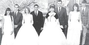 1967 Homecoming Queen candidates (left to right) freshman candidate Mary Beth Hughes, escort, Jack Cox; junior candidate Mabel Faye Bentley, escort, Doyle Fields; Homecoming Queen Margaret Hammonds, escort, Jimmy Holcomb; sophomore candidate Zelma Adams, escort, Bruce Brown.