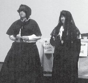 Cheyenne Slone and Sidney Jent dressed in period costumes and performed Freedom for Women for the Kentucky Junior Historical Society on April 28 in Frankfort. The Beckham Bates students took third place in the state after finishing first in the district.