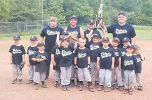 — Members of the White Sox were mostly all smiles while posing for this photo after winning the championship of the 2012 Fleming-Neon Little League's T-ball division, defeating the second-place Giants 9-4. The team was managed by Jamie Fouts and coached by Maxine Fouts, Tracy and Willie Stanley, and Donald Duty. Team members are Kiley Fouts, Jamie Fouts, Rodney Fouts, Dalton Stanley, Hayley Bentley, Chloe Wolfe, Preston Tucker, Hayden Tackitt, Cameron Webb, Sky Brown, Gavin Brown, Braxton Jackson, Cooper Reed, and Darrin Duty.