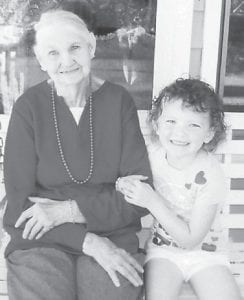 Glenna Mae Hicks of Bottom Fork is pictured with her greatgranddaughter, four-year-old Lauren Allison Hicks. She is the granddaughter of Cathy and Charles Ronald Hicks, also of Bottom Fork.