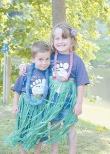 Kylee and Kayden Bates participate in the Relay for Life. They are the children of Jeremy and Candace Bates of Isom. (Photo by Mitch Caudill)