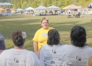 Letcher County Relay for Life Chairperson Alberta Perry led a meeting of team leaders before the event. Perry is retiring from her position after again helping to raise more than $100,000. (Photo by Mitch Caudill)