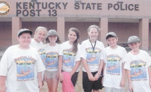 These Letcher County residents were chosen to go to Trooper Island Camp this summer at Dale Hollow Lake. They are (left to right) Ben Dotson, Reese Dotson, K.T. Adams, Makenna Johnson, Whitney Scott, Mackenzie Short and Jeremiah Short. Not pictured are Shawn Stamper and Tia Sturgill. Trooper Island Camp was developed by the Kentucky State Police as part of a long range program of public service to Kentucky youth.