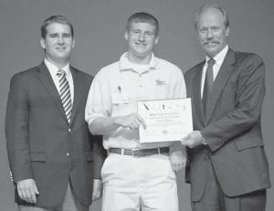 — Cody Baker, a student at Letcher County Central High School, completed the Rogers Scholars program held June 24-29 at The Center for Rural Development in Somerset. The program emphasizes leadership and entrepreneurial skills. Baker is the son of Rondall and Melissa Baker of Whitesburg. Pictured are (left to right) Delaney Stephens, youth programs coordinator and community liaison at The Center for Rural Development, Baker, and Lonnie Lawson, president and chief executive officer at The Center for Rural Development.