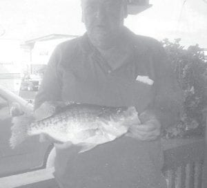 Jack Newman of Solomon Rd., Whitesburg, caught this 17- inch crappie at Cherokee Lake in Tennessee, where he and his wife, Betty, have a camper at Greenlee Campground. His friends said he should mount it, so he did — on a plate with 'taters and cornbread.