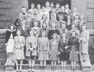 Drama Club 1940— Row 1 (left to right): Louise Barnett, Mable Brown, Boggy Jean Sampson, Janice Mullins, Mary Evelyn Hale, Eilene Bentley, Mary Jane Squires, and Anna Reece Caudill. Row 2: Neil Redman, Carolyn Hays, Clarice Lynch, Minerva Ruth Zimmerman, Mattie Ward, Peggy Williams. Row 3: Kermit Lucas, Charles Hooper, Ralph Tolliver, Mrs. Lovette Brown, Miss Cleo Stamper, Eleanor Fairchild, Bernice Hall, Katherine Black, Mary Glen Jenkins. Row 4: Jack Passmore, Eric Rierson, Bill Tolliver, Lovell Williams, Hal Fields, Jack Swisher. Row 5: Paul Little, Ed Moore, John D. Brown, Ellis Adams, Stamper Collins, Steve Bowen.