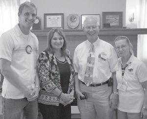 The Kiwanis Club of Jenkins recently hosted the Kentucky- Tennessee District Governor Don Ritter. Pictured (left to right) are Club President Jared Tackett, Division 8 Lt. Governor Donna Ratliff, District Governor Don Ritter and Lucy Ritter.