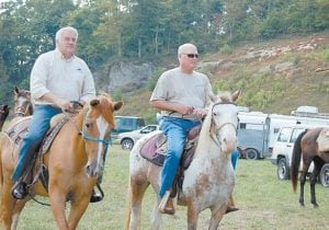 GIDDY UP! — District One Letcher County Magistrate Bobby Howard and Kentucky State Senator Johnny Ray Turner were ready to ride Tuesday on the Pioneer Horse Trail atop Pine Mountain. (Eagle photo)