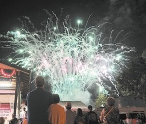 BLAST OFF — A beautiful fireworks display delighted the crowd gathered in the Jenkins Mini Park located near the foot of Pine Mountain and marked the end of the annual festival which is sponsored by the City of Jenkins and organized by a group of volunteers.