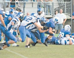 Letcher Central's defenders had a tough time keeping up with the offense of No. 4-ranked Breathitt County in a game at Jackson last Friday night. Breathitt won the contest, 54-16. (Photo by Tonya Aslinger)