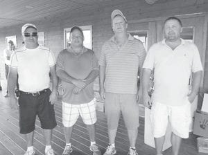 First place-winners at Raven Rock Golf Friday were (left to right) Dave Hampton, Greg Newsome, Lenville Lee and Rod Bowling. The event is held annually under the direction of County Court Clerk Winston Meade and proceeds are used to purchase Christmas presents for veterans at the East Kentucky Veterans Center.