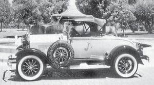 Pictured is Everett Vanover's 1929 Model-A Ford Shay rumble seat roadster. The car is parked in the square in Napa, Calif., after a classic car show where it won first place.
