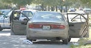 Detroit television station WDIV aired this photo of the car in which Jeremy Cornett was shot to death by two robbers.