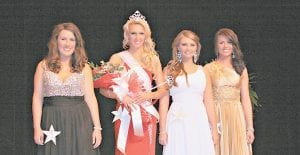 — Miss Mountain Heritage Pageant winner Lindsey Kincer (second from left) posed with (left) Brittany Frazier, 2nd runner up, Katey Mynster (second from right) 1st runner up, Miss Congeniality and most photogenic, and Haley Gibson, 3rd runner up, after the pageant Saturday. (Photo by Tonya Aslinger)